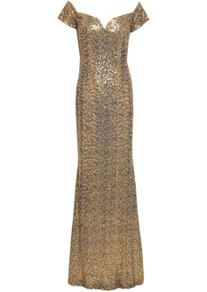 Badgley Mischka Woman Off-the-shoulder Sequined Tulle Gown Gold
