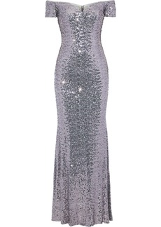 Badgley Mischka Woman Off-the-shoulder Sequined Tulle Gown Lilac