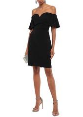 Badgley Mischka Woman Off-the-shoulder Ruffled Crepe Dress Black