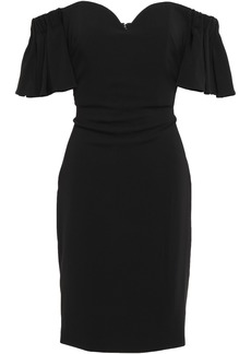Badgley Mischka Woman Off-the-shoulder Ruffled Crepe Dress Black