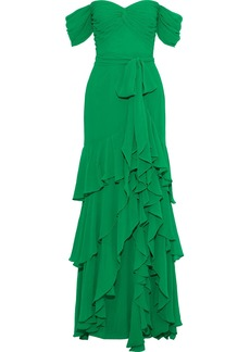 Badgley Mischka Woman Off-the-shoulder Tiered Georgette Gown Green