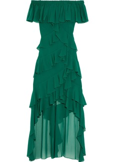 Badgley Mischka Woman Off-the-shoulder Tiered Ruffled Georgette Gown Forest Green
