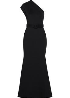 Badgley Mischka Woman One-shoulder Belted Ponte Gown Black