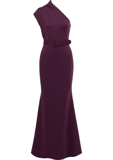 Badgley Mischka Woman One-shoulder Belted Ponte Gown Purple