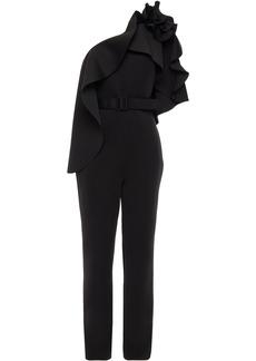Badgley Mischka Woman One-shoulder Belted Ruffled Scuba Jumpsuit Black