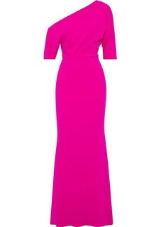 Badgley Mischka Woman Off-the-shoulder Draped Stretch-cady Gown Bright Pink