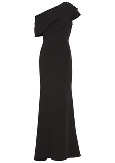 Badgley Mischka Woman One-shoulder Pleated Crepe Gown Black