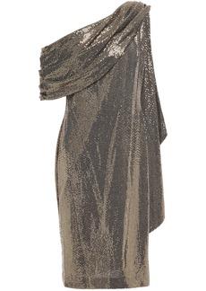 Badgley Mischka Woman One-shoulder Draped Sequined Metallic Jersey Dress Gold