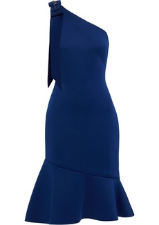 Badgley Mischka Woman One-shoulder Embellished Neoprene Dress Royal Blue