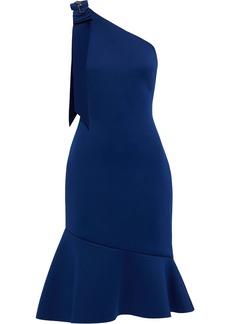 Badgley Mischka Woman One-shoulder Embellished Neoprene Dress Royal Blue