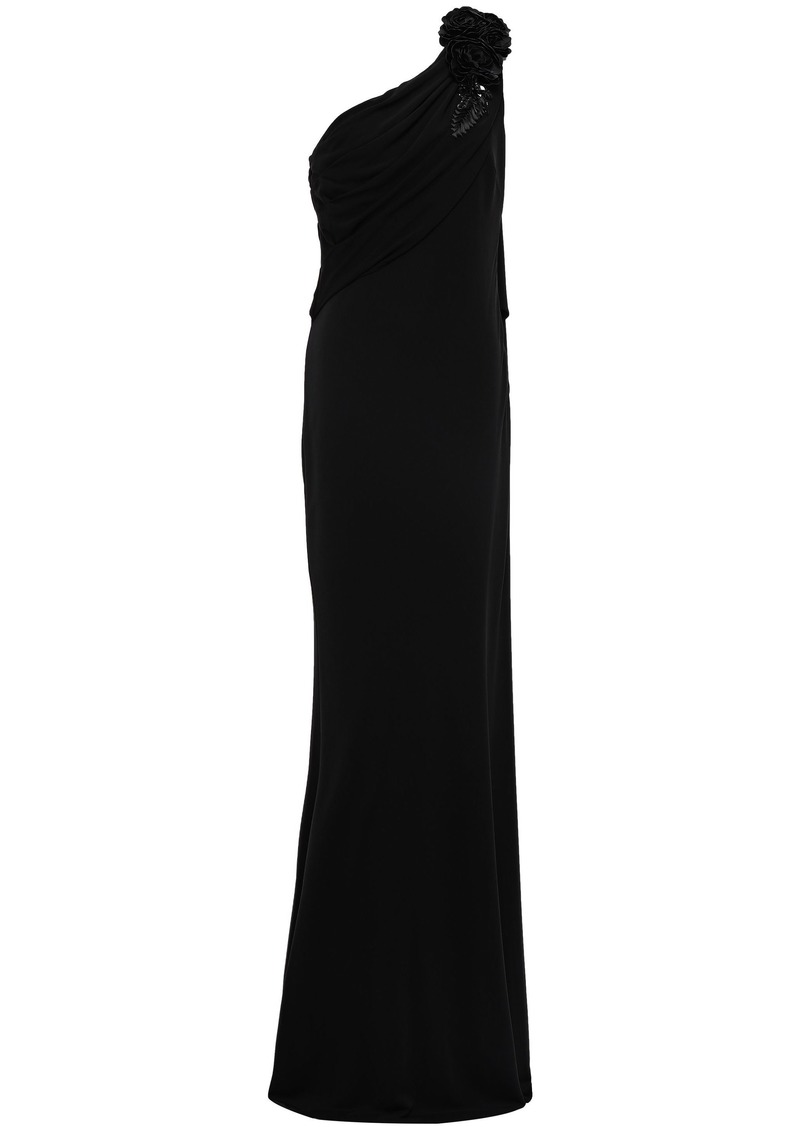Badgley Mischka Woman One-shoulder Floral-appliquéd Draped Stretch-jersey Gown Black
