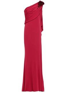 Badgley Mischka Woman One-shoulder Floral-appliquéd Draped Stretch-jersey Gown Crimson