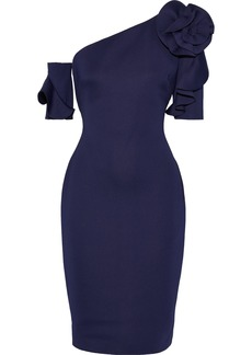 Badgley Mischka Woman One-shoulder Floral-appliquéd Neoprene Dress Dark Purple