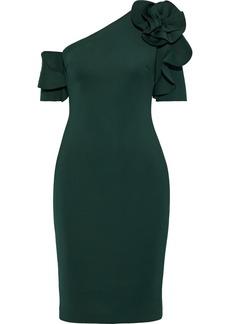 Badgley Mischka Woman One-shoulder Floral-appliquéd Neoprene Dress Emerald