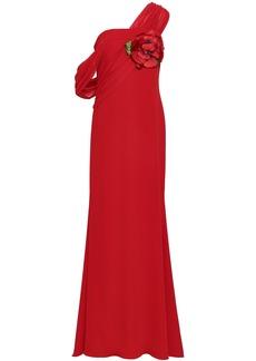 Badgley Mischka Woman One-shoulder Georgette-paneled Floral-appliquéd Cady Gown Red