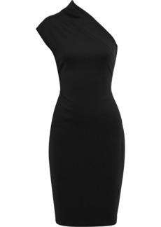 Badgley Mischka Woman One-shoulder Stretch-ponte Dress Black