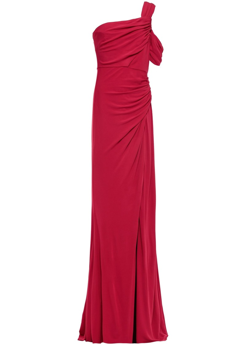 Badgley Mischka Woman One-shoulder Ruched Stretch-jersey Gown Crimson