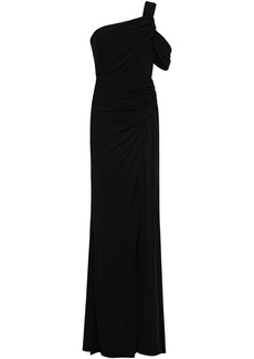 Badgley Mischka Woman One-shoulder Ruched Stretch-jersey Gown Black