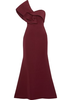 Badgley Mischka Woman One-shoulder Ruffle-trimmed Neoprene Gown Burgundy