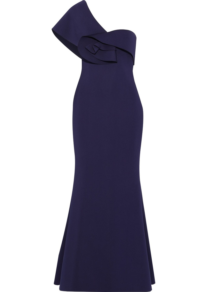 Badgley Mischka Woman One-shoulder Ruffle-trimmed Neoprene Gown Indigo