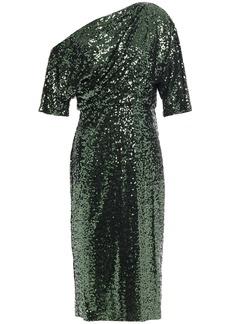 Badgley Mischka Woman One-shoulder Sequined Mesh Dress Emerald