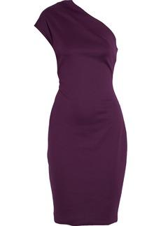 Badgley Mischka Woman One-shoulder Stretch-ponte Dress Plum