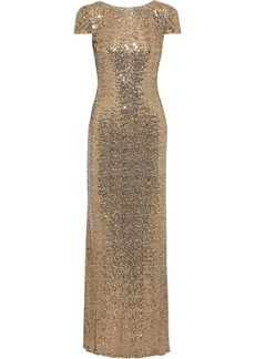 Badgley Mischka Woman Open-back Draped Sequined Tulle Gown Gold