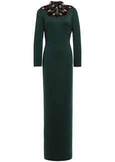 Badgley Mischka Woman Open-back Embellished Scuba Gown Emerald