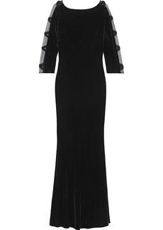 Badgley Mischka Woman Open-back Embellished Tulle-paneled Velvet Gown Black