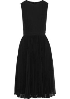 Badgley Mischka Woman Pleated Crepe De Chine And Georgette Dress Black