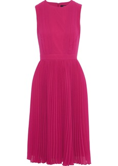 Badgley Mischka Woman Pleated Crepe De Chine And Georgette Dress Fuchsia
