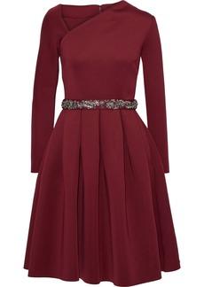 Badgley Mischka Woman Pleated Embellished Scuba Dress Burgundy