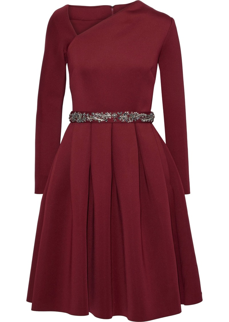 Badgley Mischka Woman Pleated Embellished Scuba Dress Burgundy
