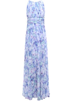 Badgley Mischka Woman Pleated Printed Georgette Gown Lavender
