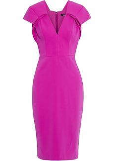 Badgley Mischka Woman Pleated Stretch-crepe Dress Magenta