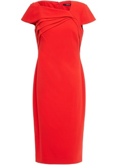 Badgley Mischka Woman Pleated Stretch-crepe Dress Tomato Red