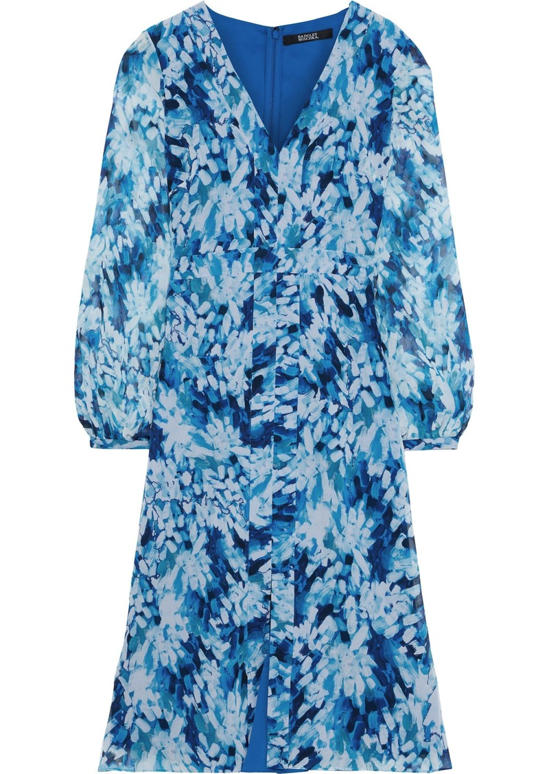Badgley Mischka Woman Printed Chiffon Dress Blue