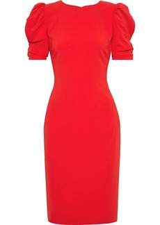 Badgley Mischka Woman Ruched Stretch-crepe Dress Red