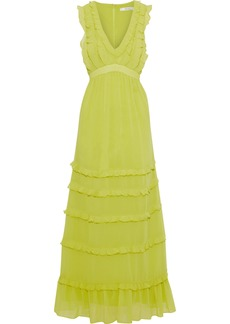 Badgley Mischka Woman Ruffled Tiered Georgette Gown Chartreuse