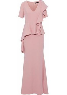 Badgley Mischka Woman Ruffled Cady Peplum Gown Blush