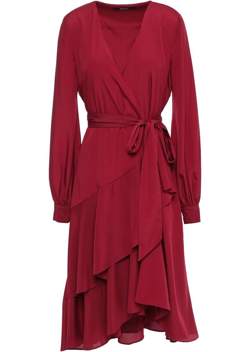Badgley Mischka Woman Ruffled Crepe De Chine Wrap Dress Claret