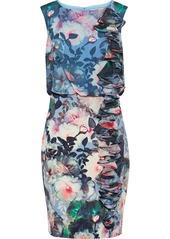 Badgley Mischka Woman Ruffled Floral-print Chiffon And Cady Dress Multicolor