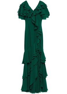 Badgley Mischka Woman Tiered Ruffled Georgette Gown Forest Green