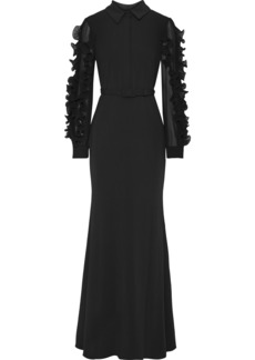 Badgley Mischka Woman Ruffled Plissé Organza-trimmed Chiffon-paneled Crepe Gown Black