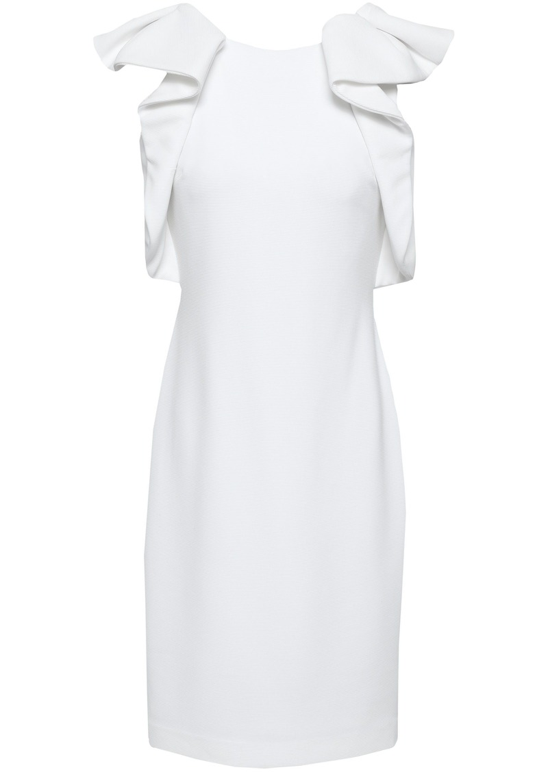 Badgley Mischka Woman Ruffled Ponte Dress White