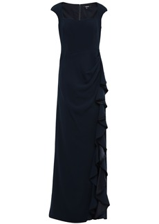 Badgley Mischka Woman Ruffled Satin-trimmed Draped Cady Gown Midnight Blue
