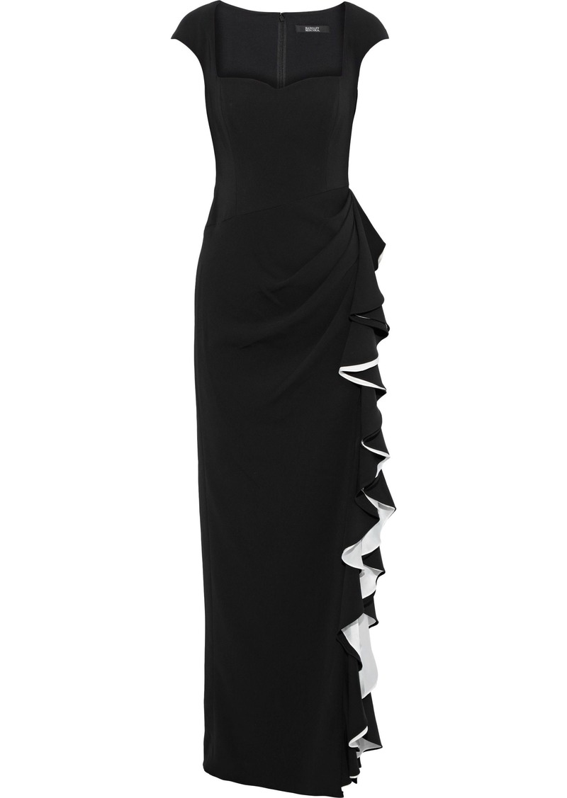 Badgley Mischka Woman Ruffled Satin-trimmed Stretch-cady Gown Black