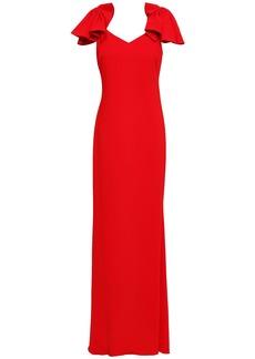 Badgley Mischka Woman Ruffled Stretch-cady Gown Red