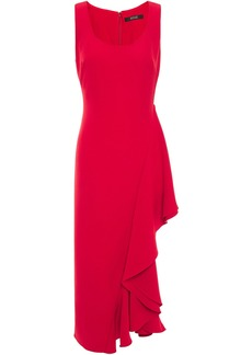 Badgley Mischka Woman Ruffled Stretch-cady Midi Dress Red