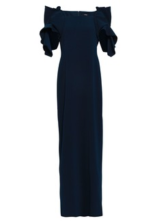Badgley Mischka Woman Ruffled Stretch-crepe Gown Navy